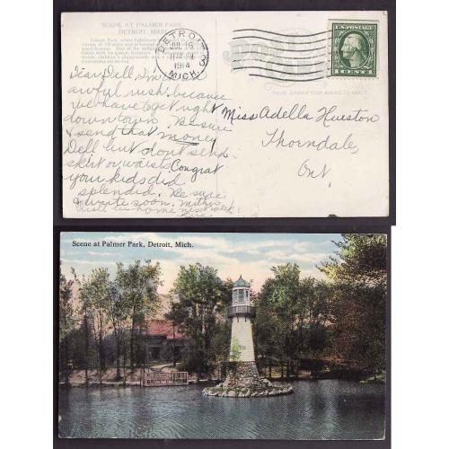 Canada-#12848-1c used p/c-Detroit,Mich-Jul 16 1914-Palmer Park lighthouse-