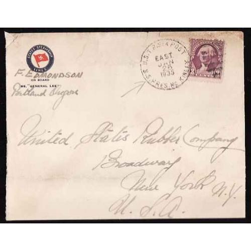 USA-#12855-3c Washington-USTP Sea Post-SS Pres McKinley-Jan 26 1935-
