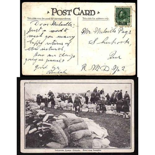 Canada-#12854-1c Admiral on postcard -viewside showing Valcartier Camp,
