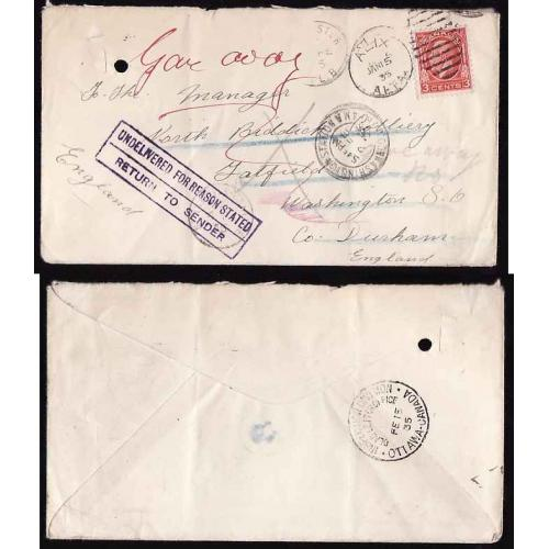 Canada-#13056 - 3c KGV Medallion on a cover to England - Alix, Alberta duplex c