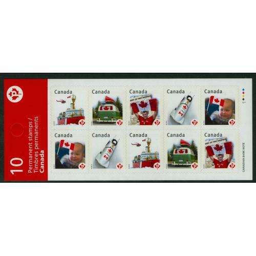 CANADA #Bk474B, Flag / Canada Pride booklet pane of 10 P,  w/ security backprint