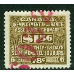 CANADA $1.56 Unemployment Insurance VF used copy, van Dam #FU35