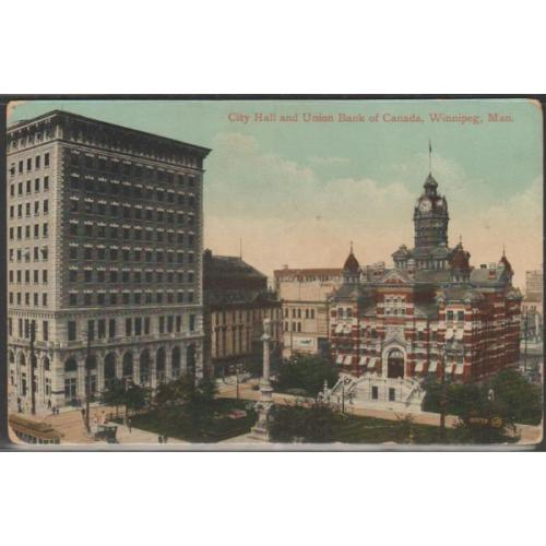 Early colour PC Valentine & Sons City Hall Union Bank Winnipeg, Manitoba used