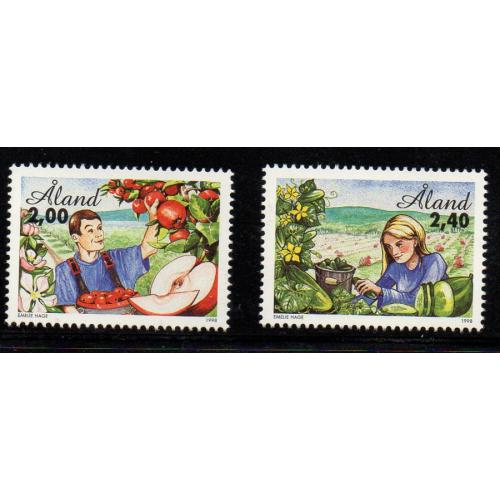 Aland Finland Sc 138-39 1998 Horticulture stamp set mint NH