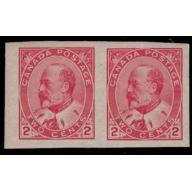 Canada 1903 2¢ King Edward VII Imperforate Pair Never Hinged