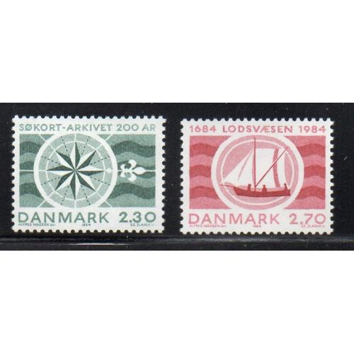 Denmark Sc 751-52 1984 Hydrographic & Pilotage stamp mint NH