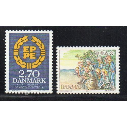 Denmark Sc 753-54 1984 Parliament Elections & Scouts stamp mint NH