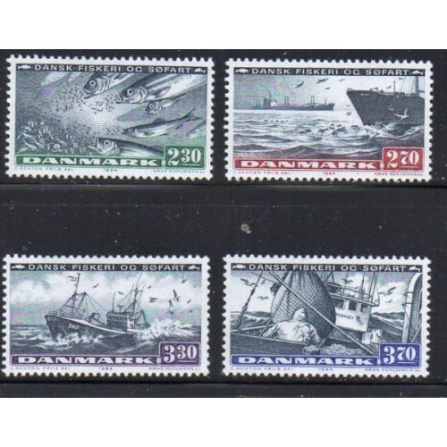 Denmark Sc 760-63 1984 Shipping & Fishing Industries stamp set mint NH