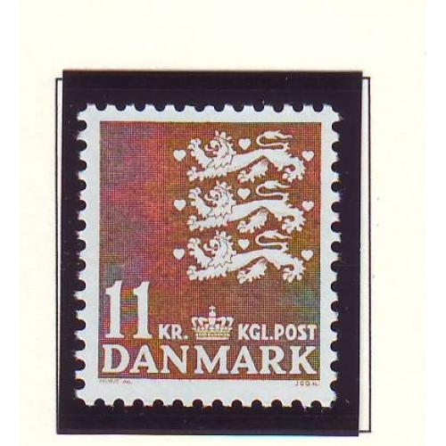Denmark Sc 810 1989 11 kr brown State Seal stamp mint NH