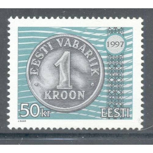 Estonia Sc  327 1997 50 kr Coin stamp  mint NH
