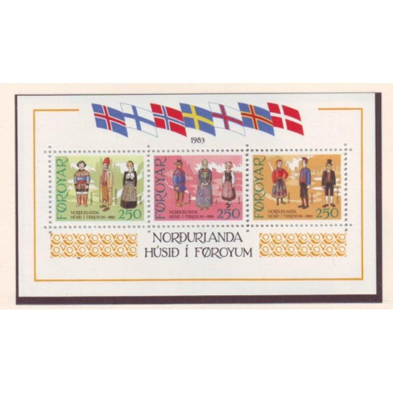 Faroe Islands Sc 101 1983 Traditional Costumes stamp sheet mint NH