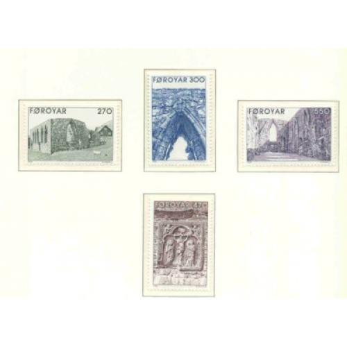 Faroe Islands Sc 182-85 1988 Cathedral Ruins stamp set mint NH