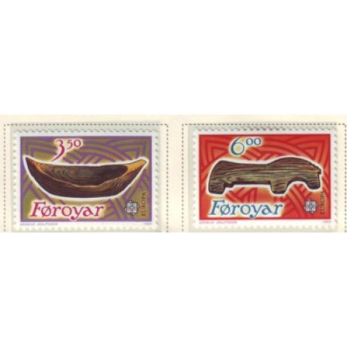 Faroe Islands Sc 191-92 1989 Europa, Children's Toys,  stamp set mint NH