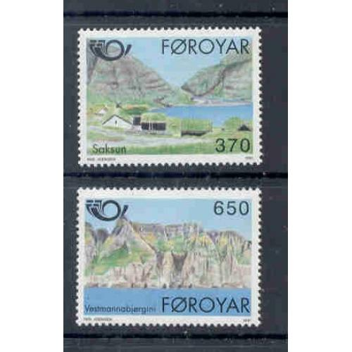 Faroe Islands Sc 226-7 1991 Saksun & Vestmanna stamp set mint NH