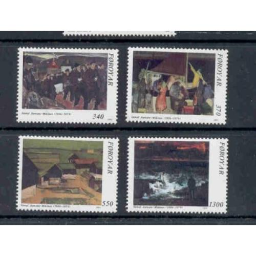 Faroe Islands Sc 228-31 1991 Joensen-Mikines Paintings stamp set mint NH