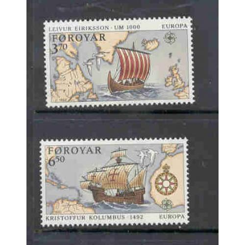 Faroe Islands Sc 236-7 1992 Europa Columbus stamp set mint NH