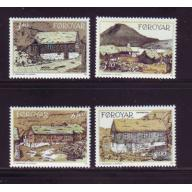 Faroe Islands Sc 243-46 1992 Traditional Houses stamp set mint NH