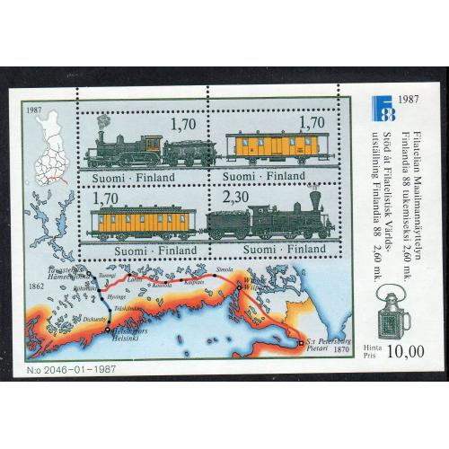 Finland Sc 755 1987 Trains & Old Map FINLANDIA '88 stamp sheet mint NH