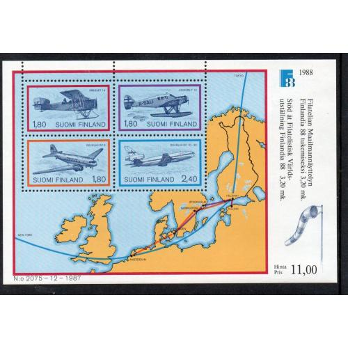 Finland Sc 773 1988 Airplanes & Map FINLANDIA '88 stamp sheet mint NH