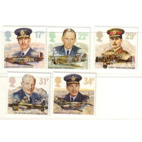 Great Britain Scott  1157-61 1986  RAF Commanders Airplanes stamp set mint NH