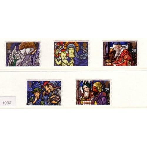 Great Britain Scott  1468-72 1992 Christmas stamp  set mint NH