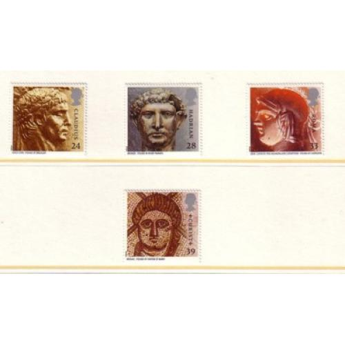 Great Britain Scott  1502-05 1993 Roman Artifacts stamp set mint NH