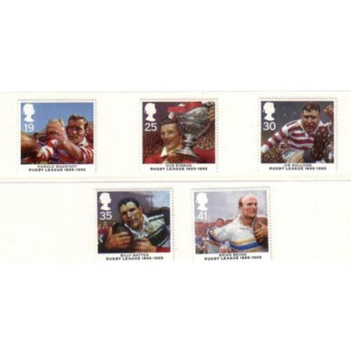 Great Britain Sc 1629-33  1995 Rugby League 100 Years stamp set mint NH