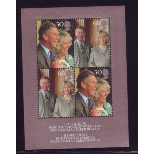 Great Britain Scott  2279 2005 Royal Wedding Prince Charles stamp sheet mint NH