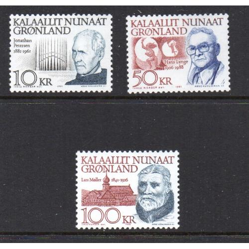 Greenland Sc 242-49 1991-92 Famous Men stamp set mint NH