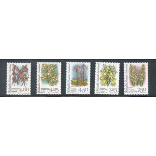 Greenland Sc 279-83 1995-96 Orchids stamp set mint NH