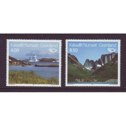 Greenland Sc 289-90 1995 Tourism Iceberg Mountains stamp set mint NH