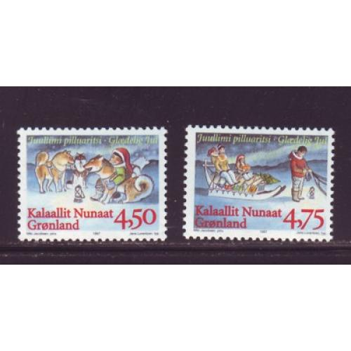 Greenland Sc 327-28 1997 Christmas stamp set mint NH