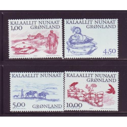 Greenland Sc 380-83 2001 Viking Arctic Life stamp set mint NH