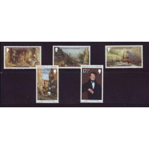 Guernsey Sc 213-17 1980 Le Lievre Paintings stamp set mint NH