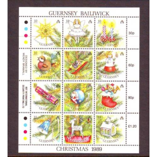 Guernsey Sc 421 1989  Christmas stamp miniature pane  mint NH