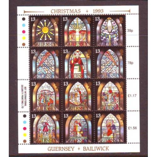 Guernsey Sc 525 1993 Christmas Stained Glass Windows stamp miniature pane  mint NH
