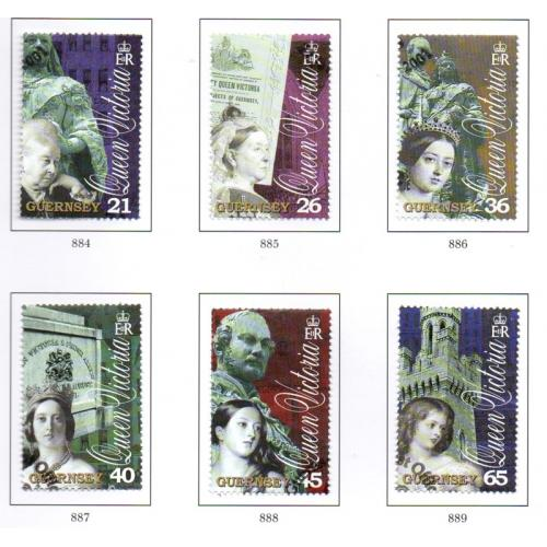 Guernsey Sc 726-31 2001 Death of Victoria stamp set used