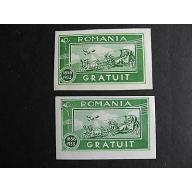 ROMANIA 2 MNG postal tax labels, one regular, one has printing flaw, error!