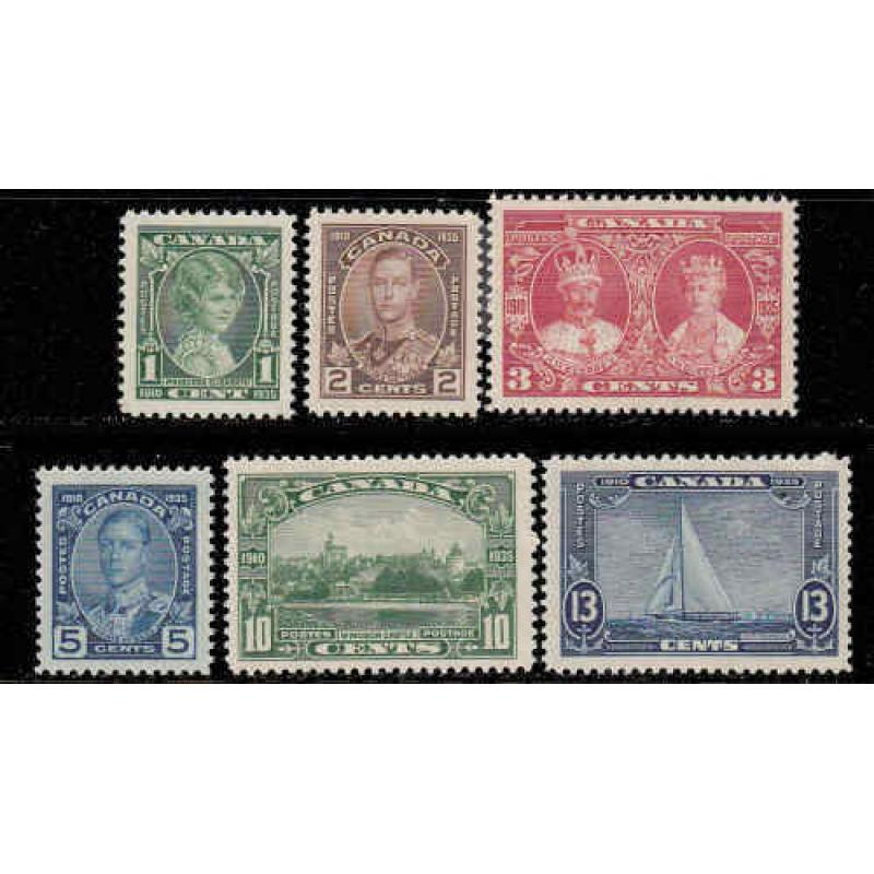 Canada 1935 King George V Silver Jubilee Set, #211-216 Never Hinged