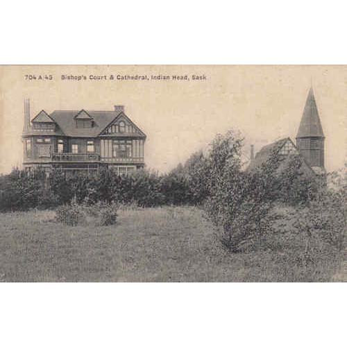 Bishop's Court & Cathedral, Indian Head Black & White Picture Post Card