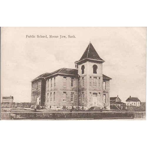 Public School, Moose Jaw Black & White Picture Post Card