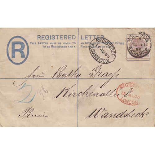 Great Britain 1885 Registered Cover with Perfin to Prussia