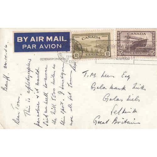 Canada 1946 30¢ Airmail Combination Post Card to England