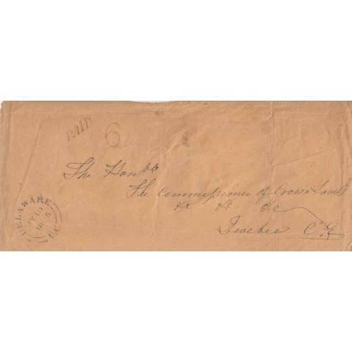 Delaware UC 1855 Stampless With Primitive Handstamp