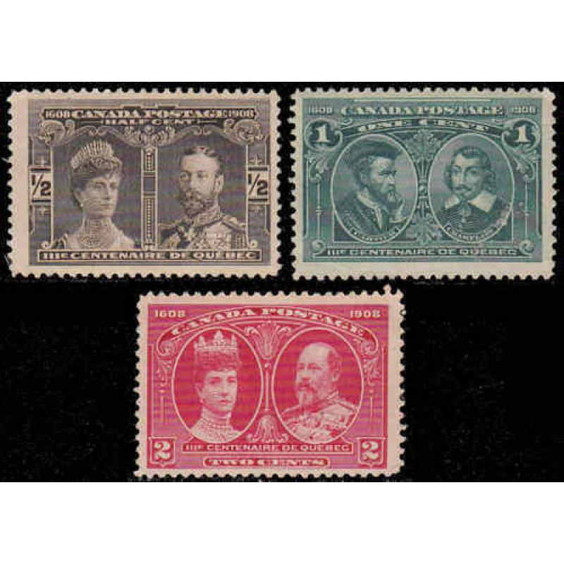Canada 1908 ½¢ to 2¢ Quebec Tercentenary Issues, #96-98 Mint