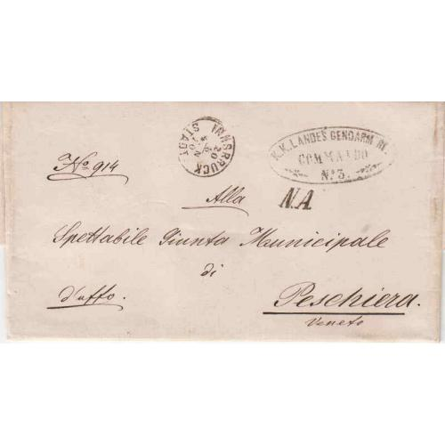 Austrian Occupation of Italy 1870 Military Stampless Cover