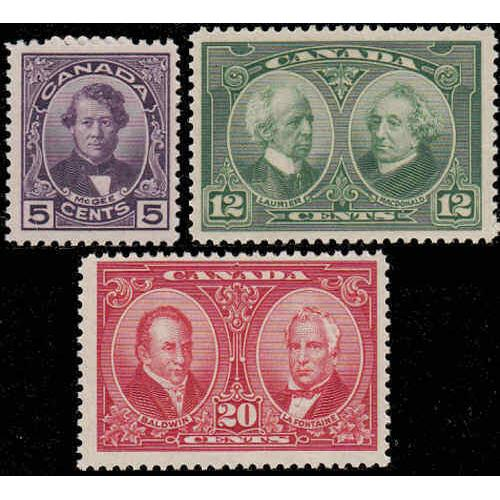 Canada 1927 Historical Set Complete, #146-148 Mint Never Hinged