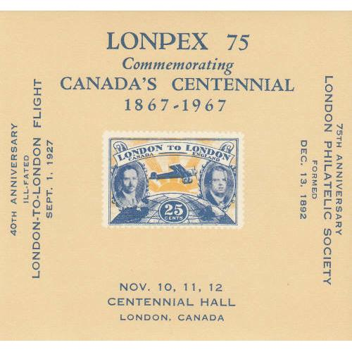 Canada 1967 London-London Flight Souvenir Sheet