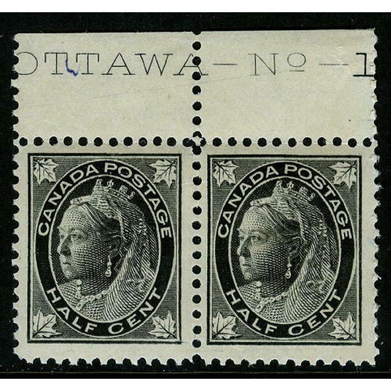Canada #66 Mint Never Hinged Imprint Pair