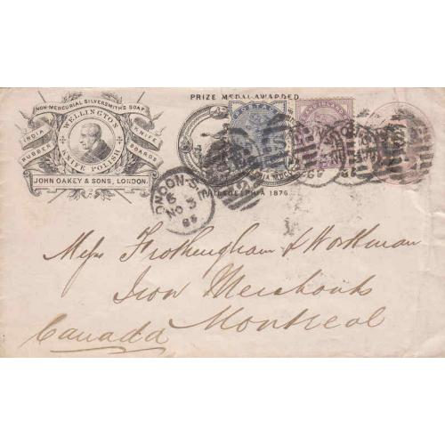 Great Britain #89, 98 on Postal Envelope to Montreal